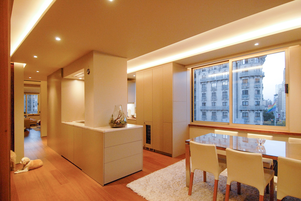 Contemporary renovation of New York 2 bedroom apartment with design by Soluri Architecture - living room