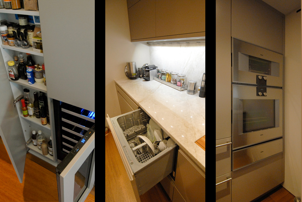 Contemporary renovation of New York 2 bedroom apartment with design by Soluri Architecture - kitchen storage & built-ins